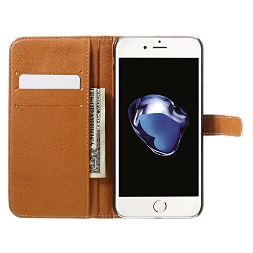 Vandot para iPhone 7 PU Funda Serie Bolsa Modelo Colorido con Bonito Hermoso Patrón de Impresión Dibujo Monedero de la Cartera de la Cubierta Móvil del Bolso del Teléfono Móvil del Proteja la piel con HSD 11