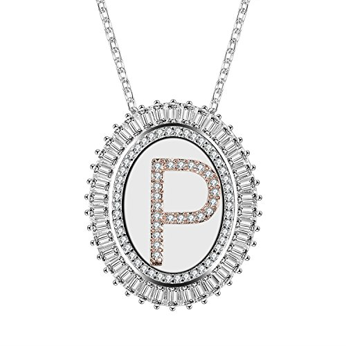 Caperci Oval Two-Tone Cubic Zirconia Alphabet Initial Letter P Pendant Necklace for Women, - Initial Pendant Crystal