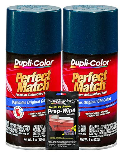 Dupli-Color Emerald Green Metallic Exact-Match Automotive Paint for GM Vehicles - 8 oz, Bundles with Prep Wipe (3 Items) -