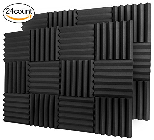 A2S Protection 24 Pack Acoustic Foam Panels 2' X 12' X 12' Soundproofing Studio Foam Wedge Tiles Fireproof - Top Quality - Ideal for Home & Studio Sound Insulation - Density 25Kg/CMB (Black 2' 24pcs)