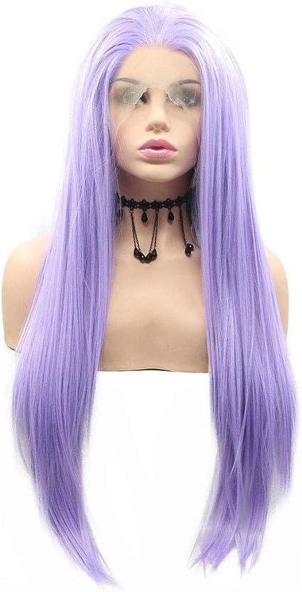 Pastel lila púrpura peluca alta temperatura amistoso sintético Encaje frente Pelucas para las mujeres señoras Cosplay sirena arrastre reina largo pelo recto: Amazon.es: Belleza