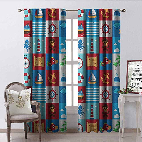 GloriaJohnson Kids Shading Insulated Curtain Cartoon Style Nautical Icons and Animals Maritime Sea Life Pirates Joyful Collection Soundproof Shade W52 x L72 Inch Multicolor