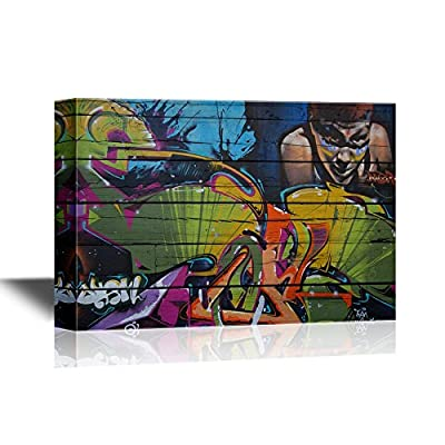 Canvas Wall Art - Colorful Graffiti on Wood Background - Gallery Wrap Modern Home Art | Ready to Hang - 32x48 inches