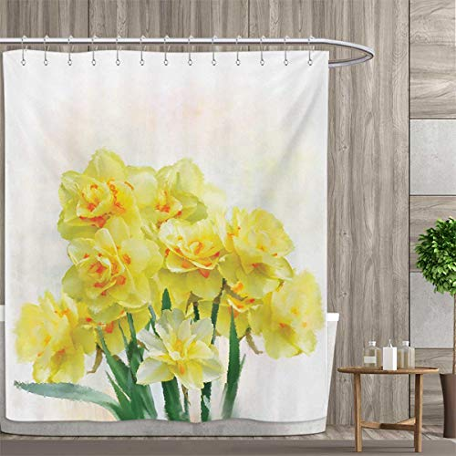 smallfly Daffodil Shower Curtains Sets Bathroom Digital Watercolors Paint of Daffodils Bouquet Called Jonquils in England Lily Satin Fabric Sets Bathroom 48