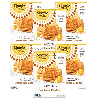 Simple Mills Almond Flour Crackers, Farmhouse Cheddar, Gluten Free, Flax Seed, Sunflower Seeds, Corn Free, Good for Snacks, Made with whole foods, 6 Count (Packaging May Vary)