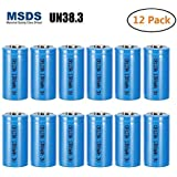 Bingogous CR123A Lithium Battery 3V 1300mAh with PTC Protection Leak Resistant Non-Rechargeable CR123 Batteries for Flashlight Light Meter Toys Torch, Not Fit For Arlo (12-Pack)