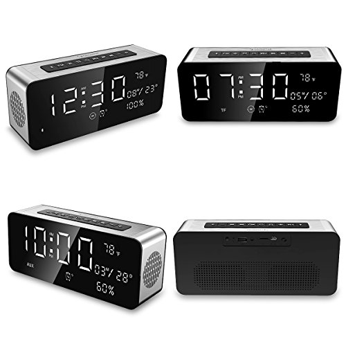 Orionstar Wireless Bluetooth Alarm Clock Radio Speaker with HD Sound & Big Digital Screen Showing Time/Date, Compatible with iPhone/Android/PC4/Aux/MicroSD/TF/USB, for Bedroom Office, Model A10 Silver by Orionstar (Image #1)