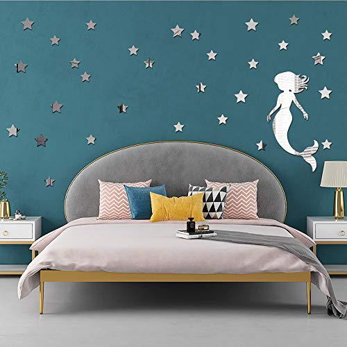 BHSTAR Mermaid Decal Mirror Wall Sticker with 53 PCS Stars for Room Decoration