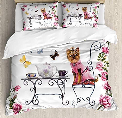 USOPHIA Yorkie 4 Pieces Bed Sheets Set Twin Size, Yorkshire Terrier in Pink Dress Having a Tea Party Tea Time Butterflies Roses Floral Duvet Cover Set, Pale Pink White