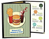 25 BETTER QUALITY Menu Covers #3129 BLACK TRIPLE PANEL FOLDOUT - 6-VIEW - 8.25'' WIDE x 11'' TALL - DOUBLE-STITCHED Leatherette Sewn Edge. Gold corners. SEE MORE: Type MenuCoverMan in Amazon search.
