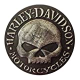 Harley-Davidson Distressed Willie G Skull Leather Emblem Patch, 3.75 inches