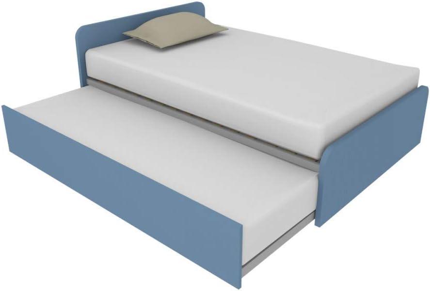 864R - Cama de 120 x 190 cm con segunda cama extraíble individual independiente y elevable para formar una cama de matrimonio, somier incluidos, ...