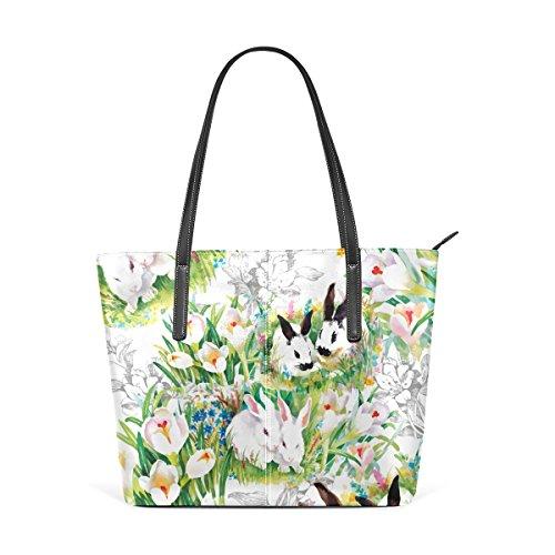 COOSUN Aquarell Kaninchen mit Blumen Muster PU Leder Schultertasche Handtasche und Handtaschen Tasche für Frauen
