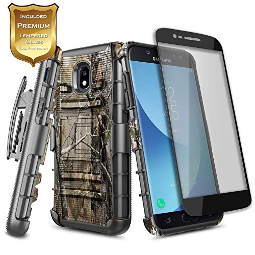 (Galaxy J7 2018 Case, J7 Refine /J7 Crown/ J7 Star/ J7 V 2nd Gen/J7 Aura/J7 Aero with Tempered Glass Screen Protector, NageBee Belt Clip Holster Heavy Duty Shockproof Combo Rugged Phone Case -Camo)