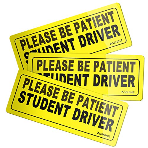 POSHINE Student Driver Magnet Car Signs - Reflective Vehicle Car Sign Bumper Sticker for New Driver (Set of 3)