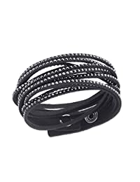 Glamorous Black Snake Black Austrian Crystals Fashion Wrap Bracelet