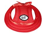 ONEDONE Princess Mesh Style Sun Hat with Ear Holes for Small Dogs and Cats(red)
