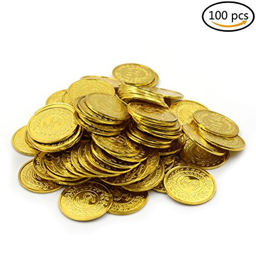 Solid Gold Coin (LONG7INES 100 Pcs Pirate Plastic Fake Gold Coins for Party Favor Home Decorations and Children Toys)