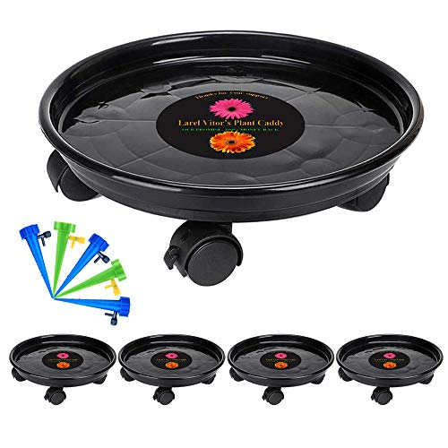 (Murilan Plant Caddy Heavy Duty, Potted Plant Stand with Wheels, Round Flower Pot Mover, Rollers Dolly Holder Indoor Outdoor Rolling Tray Coaster,Black,5 Pack (11.6inch))