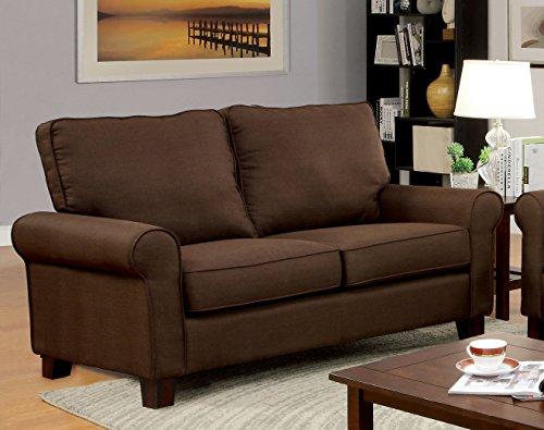 Furniture of America Levine Classic Love Seat, Brown