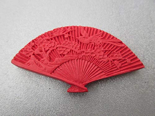 Carved Red Cinnabar Fan Bead 1pc #ID-237