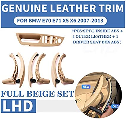 NO LOGO FJY-HANDLE Beige Black Armrest Car Left Front Drivers Seat LHD Interior Door Handle Inner Panel Pull Trim Cover For BMW E70 E71 X5 X6 Color : Leather Brown 7 Pcs
