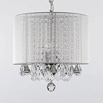 "Crystal Chandelier Chandeliers With Large White Shade! H15"" x W15"""