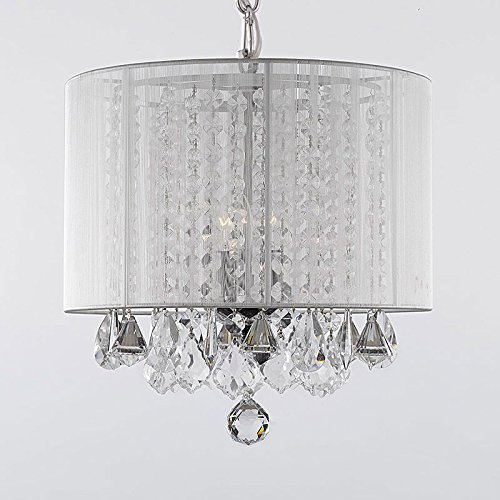 Crystal chandelier chandeliers with large white shade h15 x w15 mozeypictures Gallery