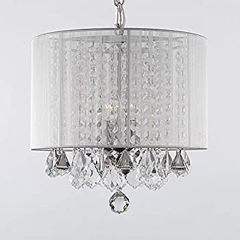 Crystal chandelier chandeliers with large black shade h15 x w15 crystal chandelier chandeliers with large white shade h15 x w15swag plug in aloadofball Image collections