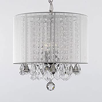 Crystal Chandelier Chandeliers With Large White Shade! H15 x W15SWAG  PLUG IN