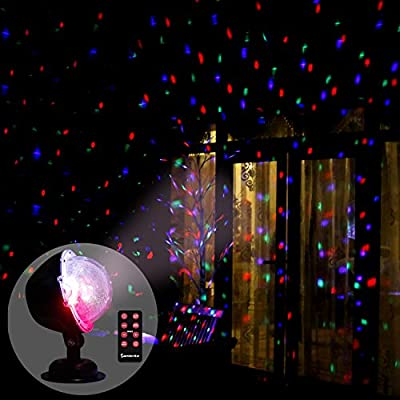 EAMBRITE Multi LED Activated Party Lights with Remote and Base for Wedding Show Club Pub Multi Function Rotating Falling Snow Projector for Xmas Moving Points Landscape Lights for Home Yard Garden