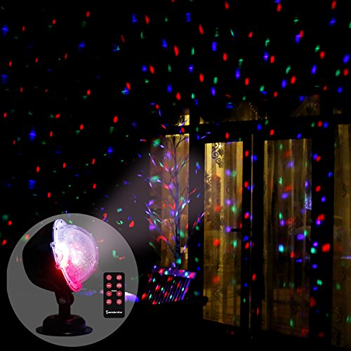 EAMBRITE Multi LED Activated Party Lights with Remote and Base for Wedding Show Club Pub Multi Function Rotating Falling Snow Projector for Xmas Moving Points Landscape Lights for Home Yard Garden -