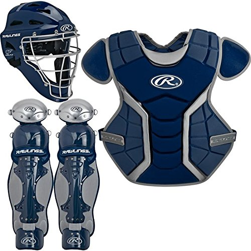 Coolflo Hockey Style Catchers Helmet (Rawlings Sporting Goods Renegade Series Catcher Set (Below 12), Navy/Silver)