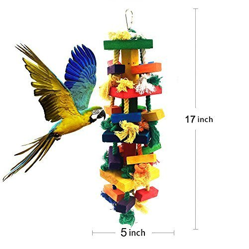 AIMINUO Knots Block Chewing Bird Toys for Parrot(Large 17 Inch) by