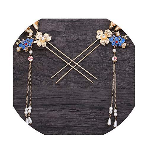 Chinese Blue Hand Made Hairpin Gazebo Pavilion Antique Hair Sticks Brides Hair Ornaments