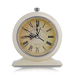 Makimoo Classic Retro Shelf Clock, Old Fashioned Vintage Non Ticking Desk Alarm Clock Mute Silent Quiet Table Alarm Clock Quartz Movement Battery Operated with Night Light, Beige