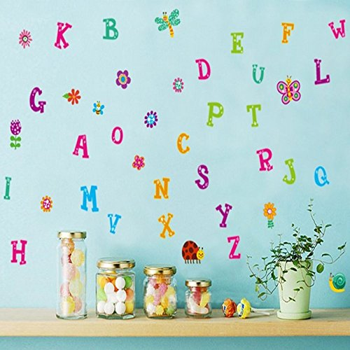 English Alphabet Letters Butterfly Sunflowers Snail Dragonfly Wall Decal PVC Home Sticker House Vinyl Paper Decoration WallPaper Living Room Bedroom Art Picture DIY Murals Girls Boys kids Nursery Baby (Wall Decoration Snail)