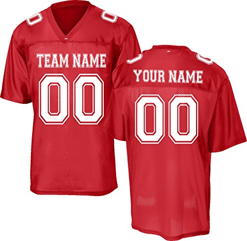 (Custom Replica/Practice Football Jersey (Unisex, Youth/Adult) - Add Your Team, Name, and Number Red)