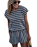 RUIGO Women's High Waist Striped Jumpsuit Playsuit Casual Loose Short Sleeve Rompers