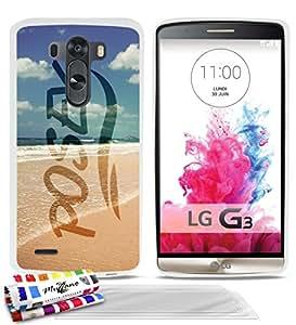 """Carcasa Flexible Ultra-Slim LG G3 de exclusivo motivo [Posey Beach] [Blanca] de MUZZANO  + 3 Pelliculas de Pantalla """"UltraClear"""" + ESTILETE y PAÑO MUZZANO REGALADOS - La Protección Antigolpes ULTIMA, ELEGANTE Y DURADERA para su LG G3"""