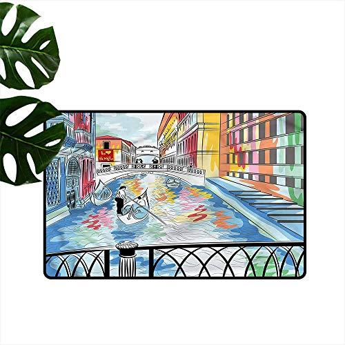 (DONEECKL Printed Door mat Venice Colorful Sketch Bridge Hard and wear Resistant W20 xL31)