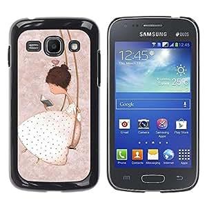 Be Good Phone Accessory // Dura Cáscara cubierta Protectora Caso Carcasa Funda de Protección para Samsung Galaxy Ace 3 GT-S7270 GT-S7275 GT-S7272 // Girl Swing Pink Deep Thought Emo