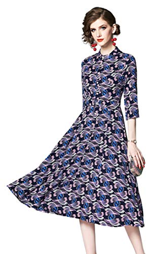 Shineflow Women's Vintage Floral Printed Lotus Sleeves Elastic Waist Pleated Swing Cocktail Party Midi Dress (Blue & Black, L) (Chiffon Printed Dress)