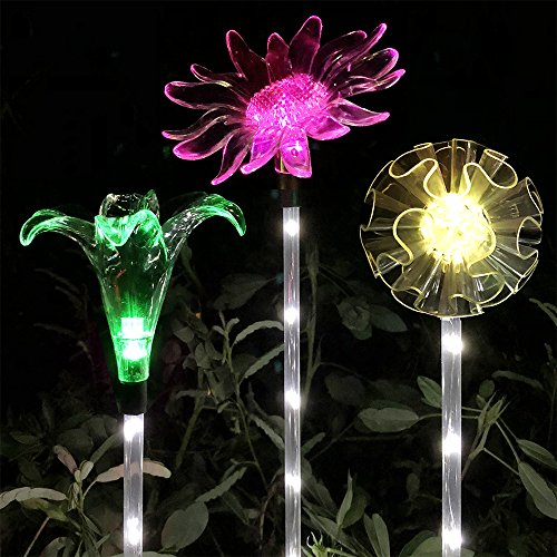 Lucky Rain Solar Garden Stake Lights Outdoor Decorative Garden Stakes Color Changing Solar Powered LED Lights Decorative Waterproof Night Lights for Patio Lawn Backyard (Bloom Night Light)
