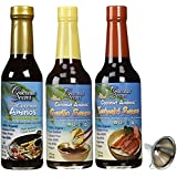 Coconut Secret Teriyaki , Garlic, and Raw Aminos Sauce 3 Pack Includes funnel