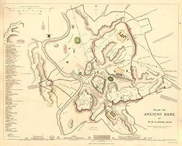 Ancient Rome Roma Antique Town City Map Plan Original Hand
