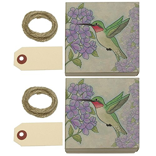 Hummingbird with Hydrangeas Kraft Gift Boxes Set of 2