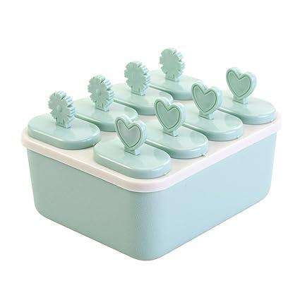 BKLMU Molde de hielo creativo Plástico bricolaje Helado congelado en forma de corazón Molde para paletas