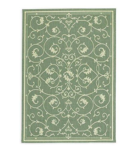 (Plow & Hearth Veranda Scroll Indoor/Outdoor Rug, 2' x 3'7'' in Green)