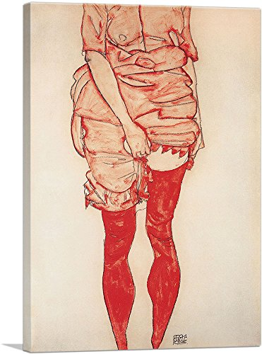 ARTCANVAS Stehende Frau in Rot 1913 Canvas Art Print by Egon Schiele- 26